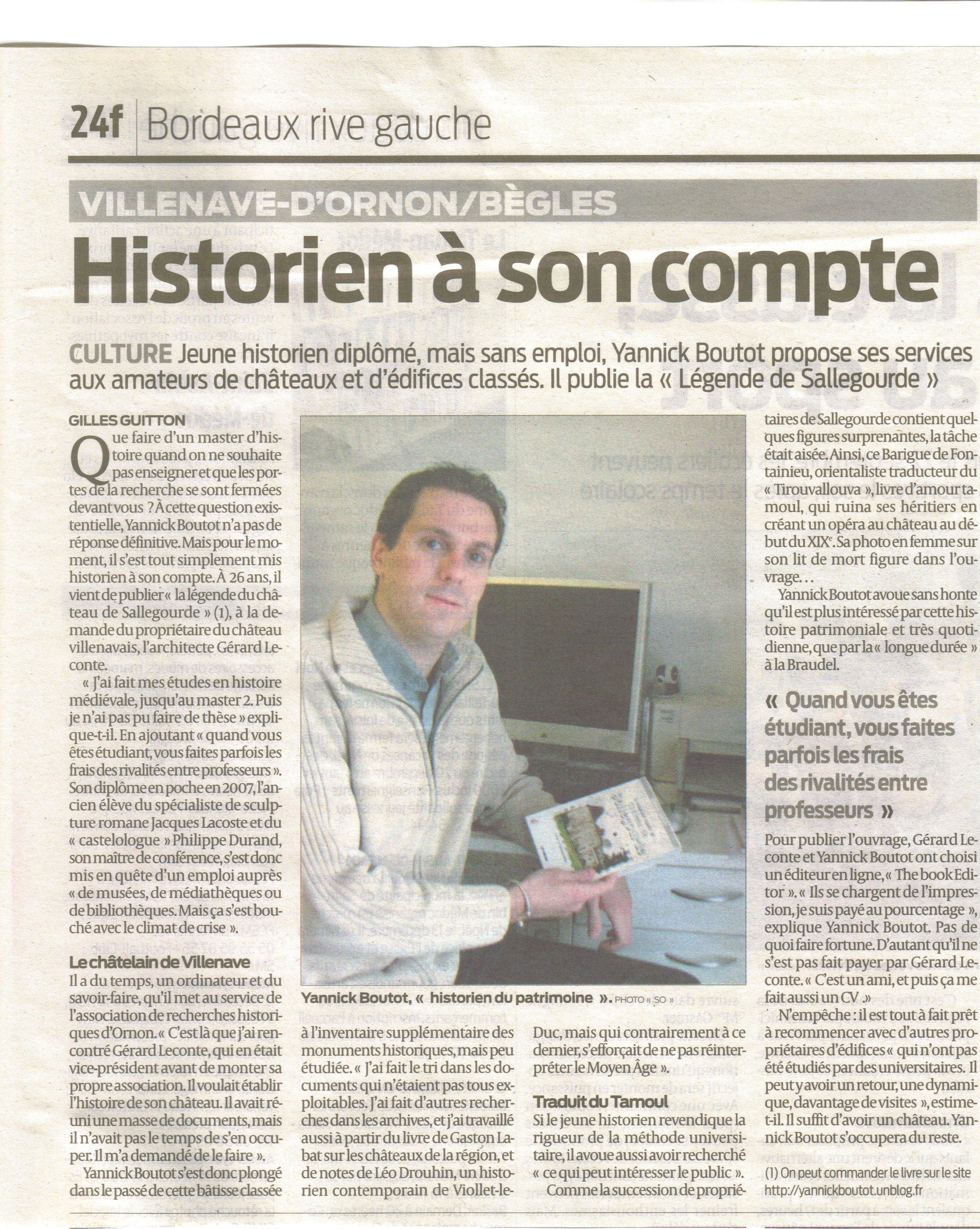 Article Sud Ouest 6 décembre 2008